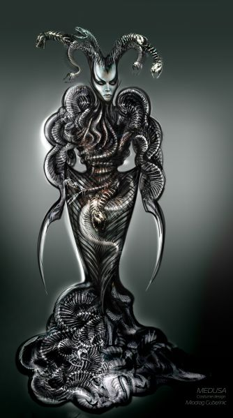 Sketch of Medusa for Heartbeat Opera's Dragus Maximus by Miodrag Guberinic.