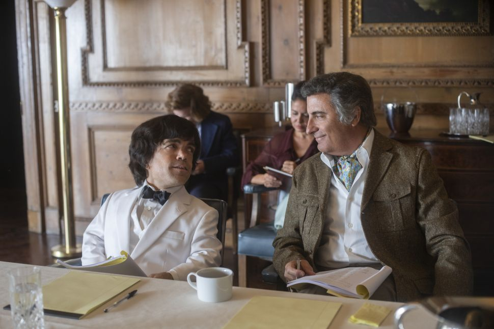 Peter Dinklage as Hervé Villechaize and Andy Garcia as Ricardo Montalban in HBO's 'My Dinner With Hervé.'