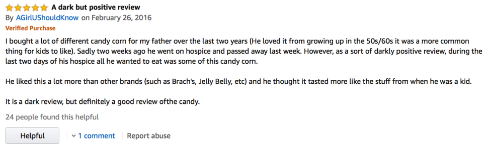 Amazon Candy Corn Review: For death is but a passing phase of life—unlike candy corn which is apparently eternal.
