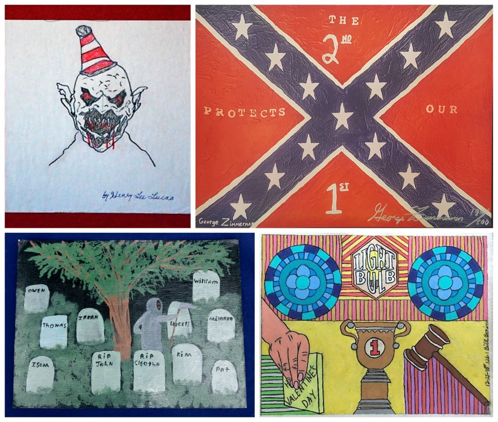 "Clockwise from top left: Henry Lee Lucas began his murder career by stabbing his mother in the neck with a knife, then went on to kill hundreds more—this drawing of his alter ego beast is selling for $1,600. George Zimmerman, who killed Trayvon Martin in 2012, is offering prints of his Confederate flag painting, ""The 2nd Protects Our 1st,"" for $500 each. A pastel by William George Bonin, aka the Freeway Killer, titled ""Valentines Day Wishes In Part,"" priced at $3,500. The infamous Anthony Sowell graveyard painting."