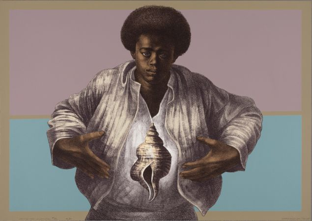 Charles White, Sound of Silence, 1978. Printed by David Panosh, published by Hand Graphics, Ltd. Color lithograph on paper.