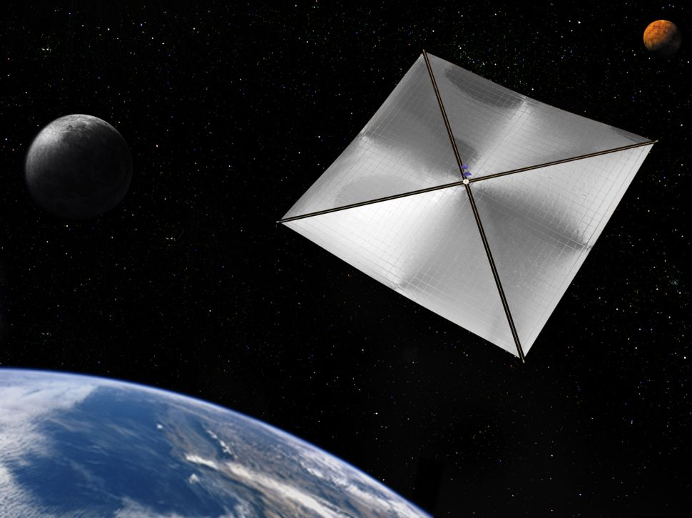 An artist's rendering of a four-quadrant solar sail propulsion system, with payload.