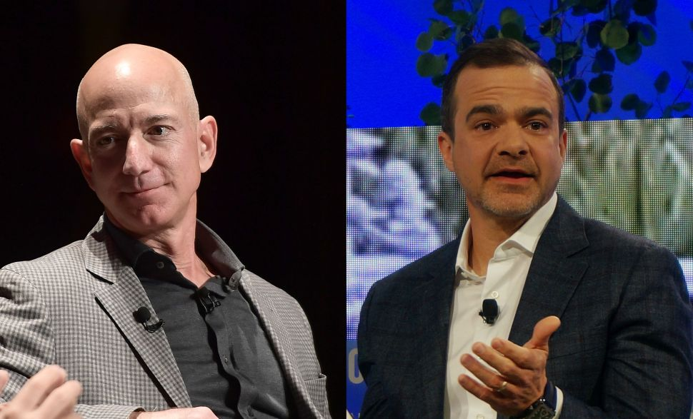 Jeff Bezos (left), founder of Amazon, and Jeff Wilke (right), Amazon's CEO of worldwide retail.