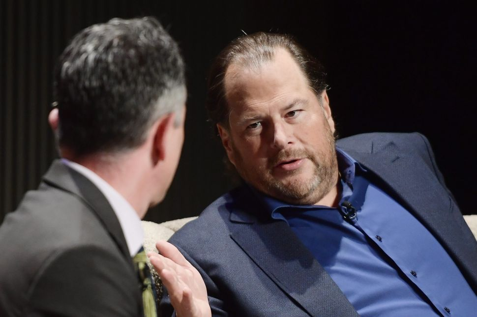 Marc Benioff was the only tech CEO supporting Prop C before the midterm elections.