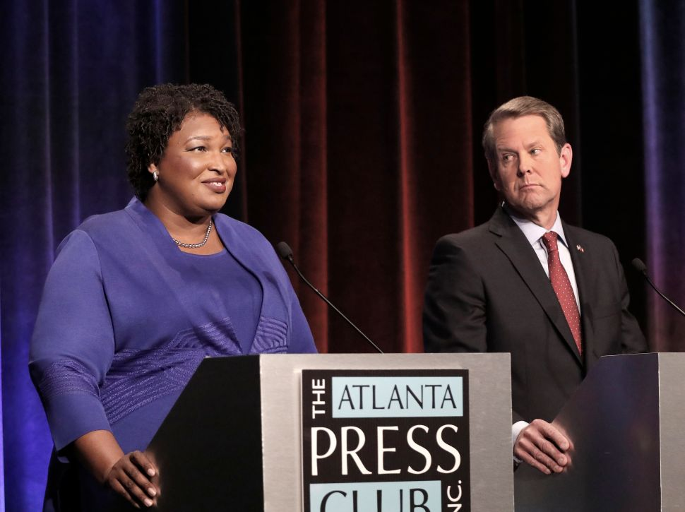 Georgia gubernatorial candidates (L-R) Democrat Stacey Abrams and Republican Brian Kemp.