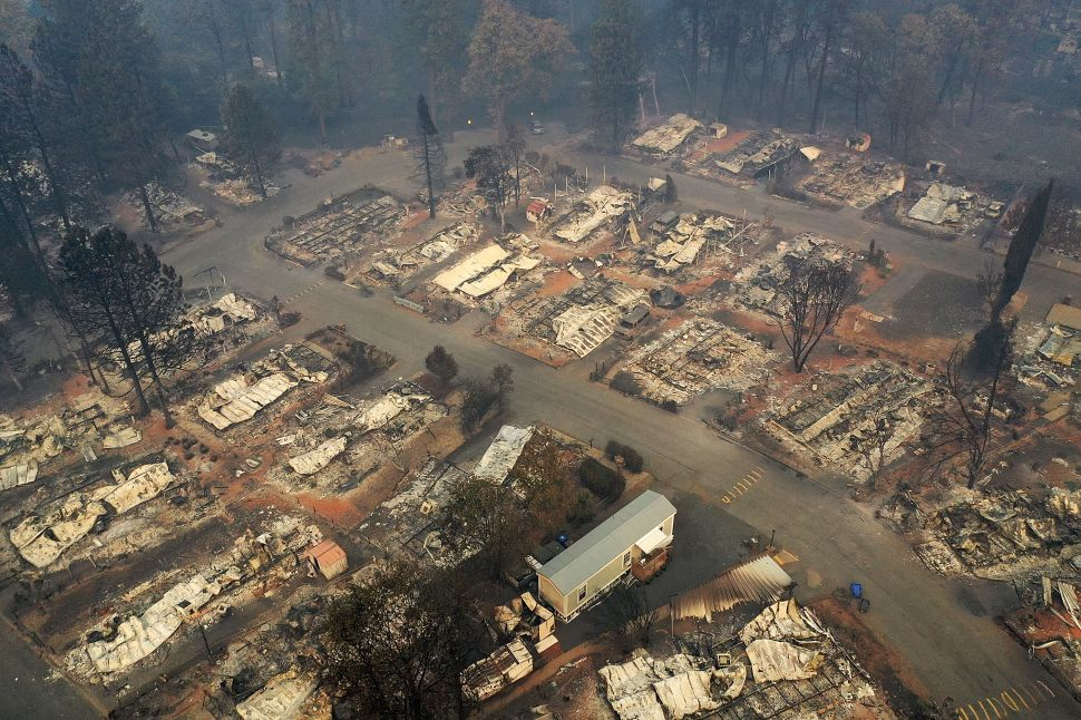 An aerial view of a neighborhood destroyed by the Camp Fire on November 15, 2018 in Paradise, California.