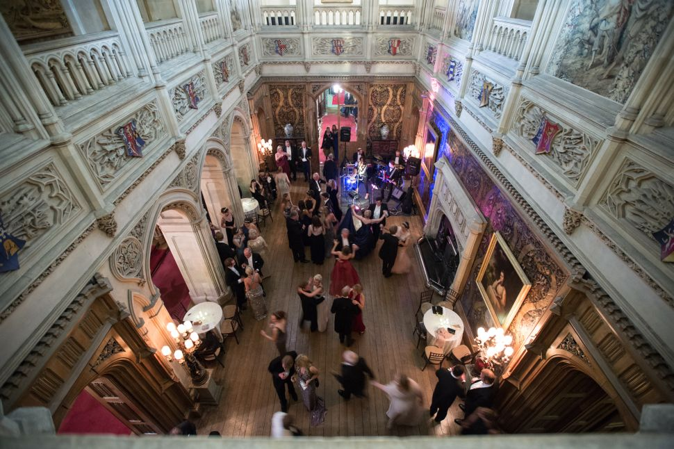 Debutantes and guests dance at the Queen Charlotte's Ball at Highclere Castle on September 13, 2014.