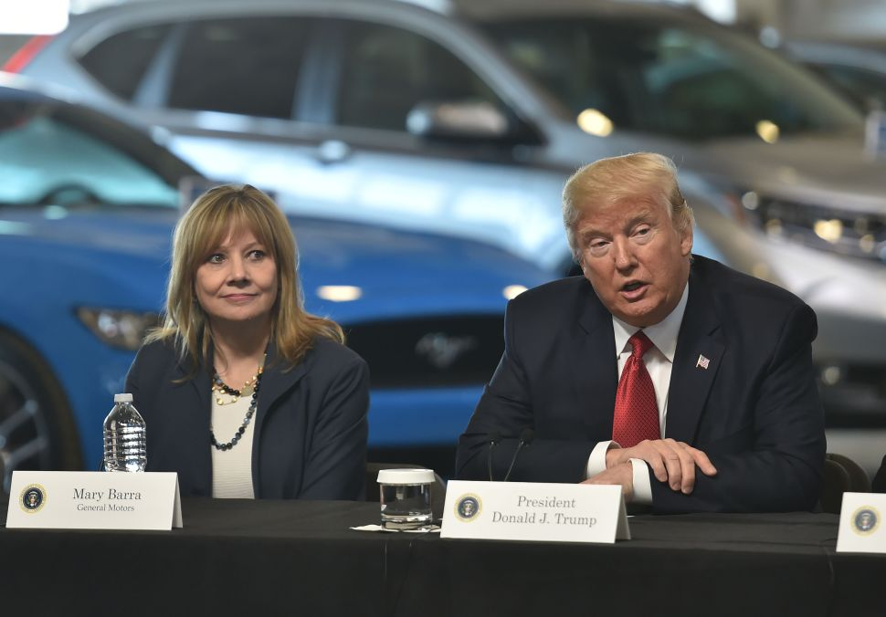 President Donald Trump and General Motors CEO Mary Barra at the American Center for Mobility in Ypsilanti, Michigan on March 15, 2017.