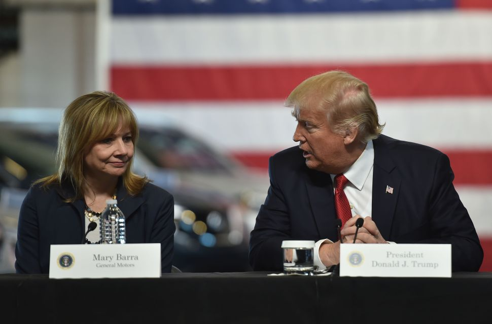 President Donald Trump delivers remarks at the American Center for Mobility in Ypsilanti, Michigan with General Motors CEO Mary Barra and other auto industry executives on March 15, 2017.