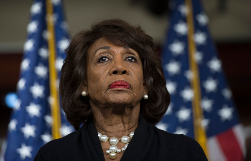US Representative Maxine Waters (D-CA) speaking to reports regarding the Russia investigation, in Washington, D.C., January, 2018.