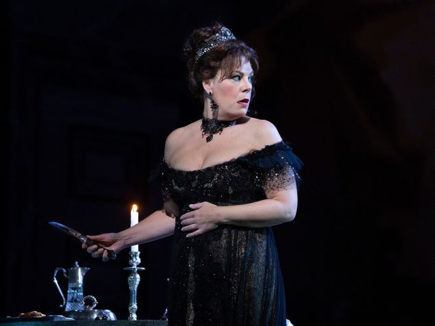 """Soprano Sondra Radvanovsky goes into the windup for a sensational moment in Puccini's """"Tosca'/"""