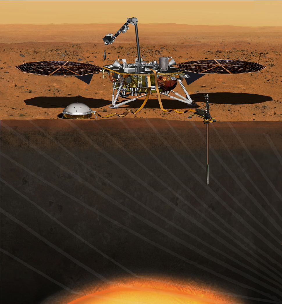 An artist's concept depicts NASA's InSight Mars lander fully deployed for studying the deep interior of Mars.