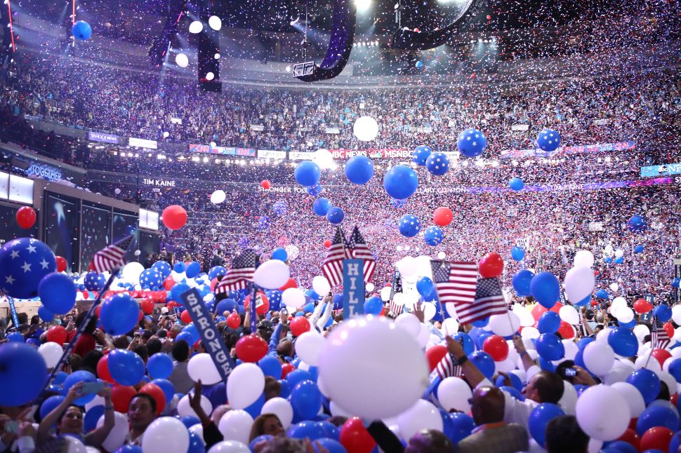 Balloons fall over delegates and attendees at the end of the fourth day of the Democratic National Convention on July 28, 2016 in Philadelphia, Pennsylvania.