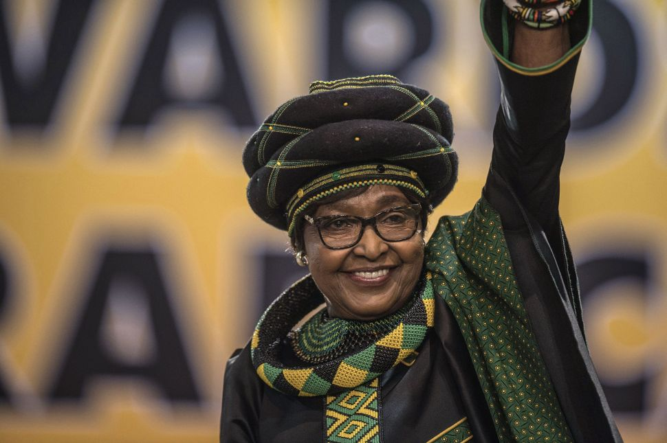The former wife of Nelson Mandela, anti-apartheid campaigner Winnie Mandela waves at the 54th ANC National Conference in Johannesburg on December 16, 2017.