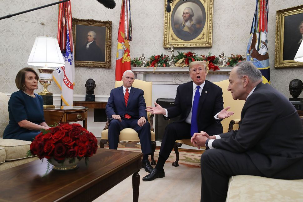 Nancy Pelosi, Mike Pence, Donald Trump and Chuck Schumer meet.