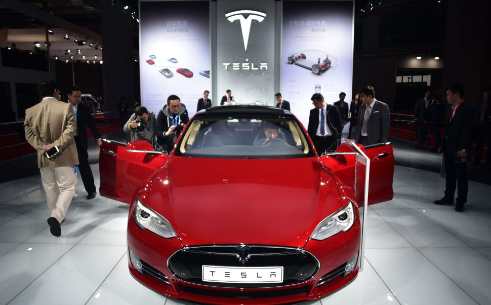 A Tesla Model S car on display at the 16th Shanghai International Automobile Industry Exhibition in Shanghai on April 20, 2015.