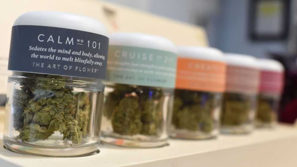 Marijuana for a calming effect is for sale at the Higher Path medical marijuana dispensary in the Sherman Oaks area of Los Angeles, California.
