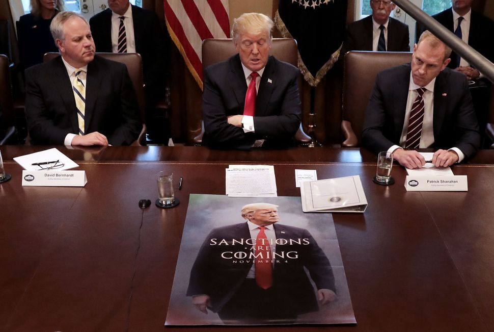 President Donald Trump lead a meeting of his Cabinet on Wednesday with a curious visual aid.