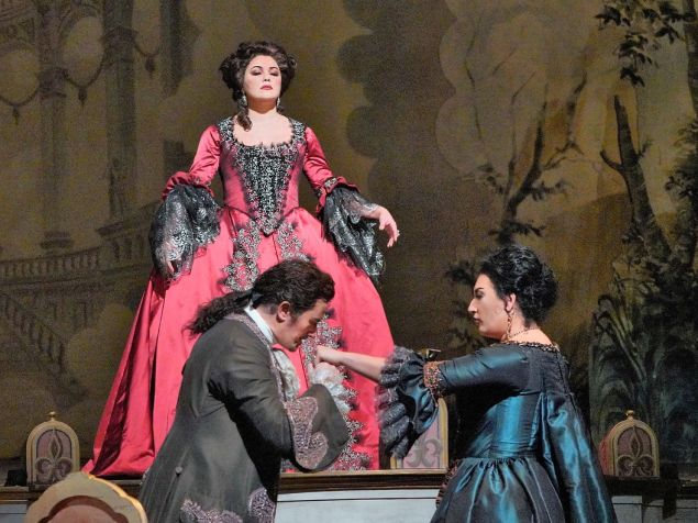 Adriana (Anna Netrebko) is about to take her revenge on Maurizio and the Princess in 'Adriana Lecouvreur'.