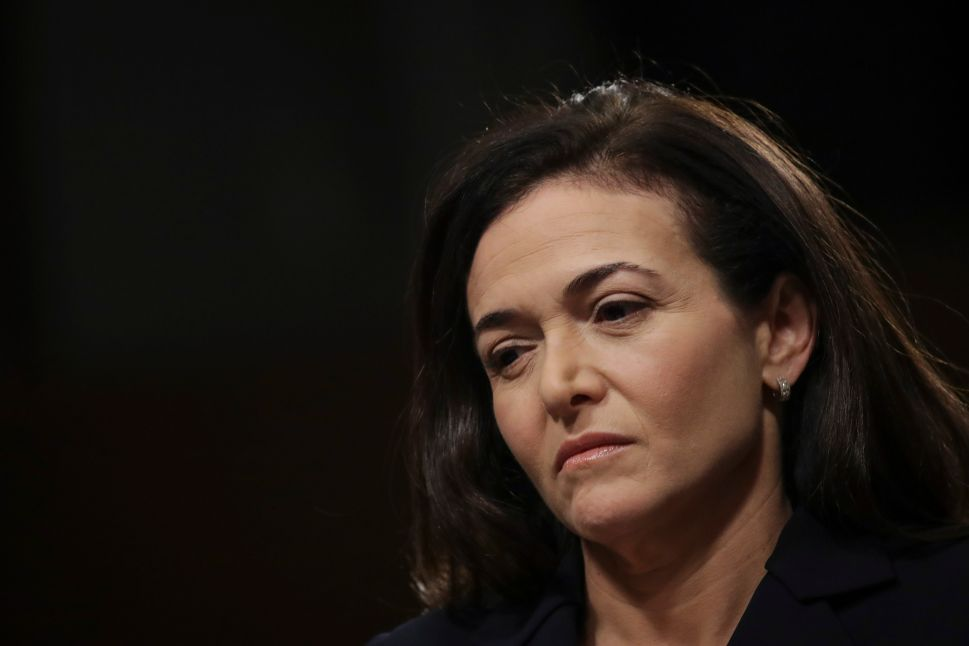 Facebook chief operating officer Sheryl Sandberg testifies during a Senate Intelligence Committee hearing concerning foreign influence operations' use of social media platforms on September 5, 2018.