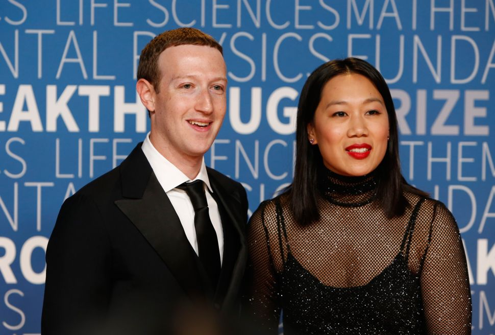 Mark Zuckerberg (L) and Priscilla Chan seen at the 2019 Breakthrough Prize at NASA Ames Research Center on November 4, 2018 in Mountain View, California.