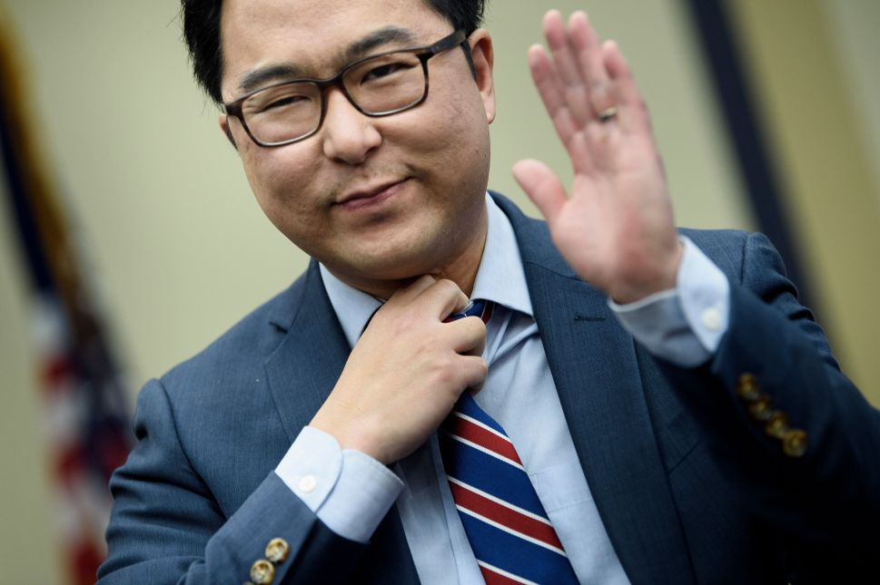 U.S. Representative-elect Andy Kim (D-NJ) reacts after drawing a number during an office lottery for new members of Congress on Capitol Hill November 30, 2018 in Washington, D.C.
