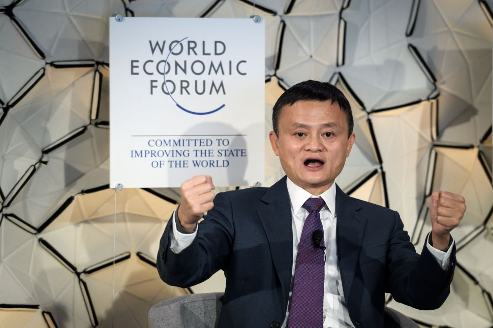 Alibaba Group founder Jack Ma at a Wednesday panel at the World Economic Forum (WEF) in Davos, Switzerland.