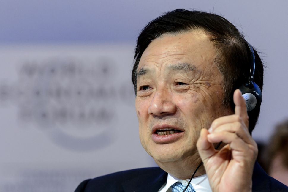 Huawei Founder and CEO Ren Zhengfei at the World Economic Forum (WEF) annual meeting on January 22, 2015 in Davos.