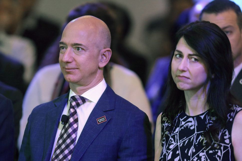 Jeff Bezos and his wife MacKenzie Bezos at the opening ceremony of the Washington Post's new location in Washington D.C. on January 28, 2016.