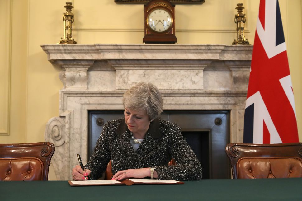 British Prime Minister Theresa May in the cabinet office.