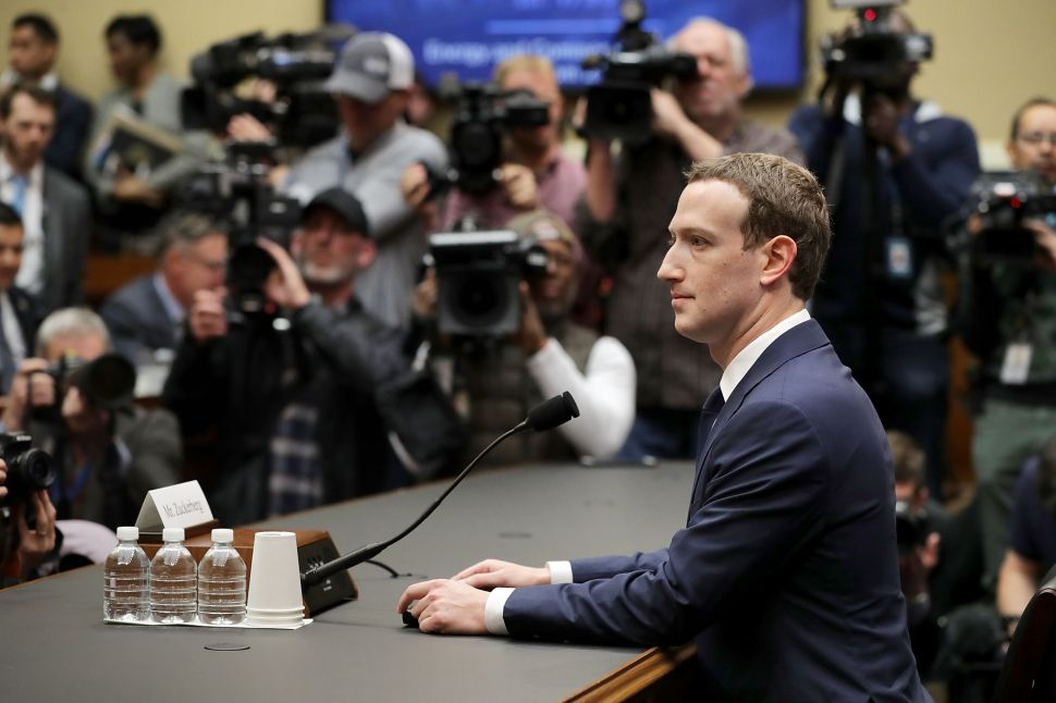 Mark Zuckerberg at the U.S. Congress hearing on April 11.