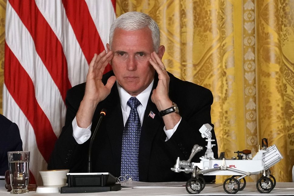 Vice President Mike Pence speaks during a meeting of the National Space Council at the East Room of the White House.