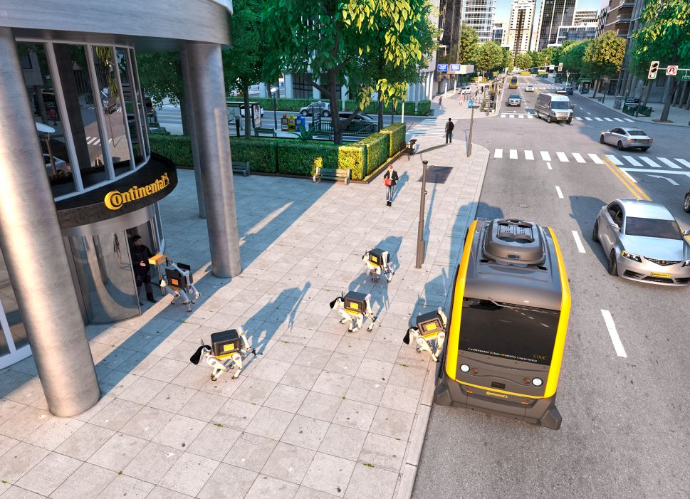 Continental's autonomous delivery vehicle and robot dogs.
