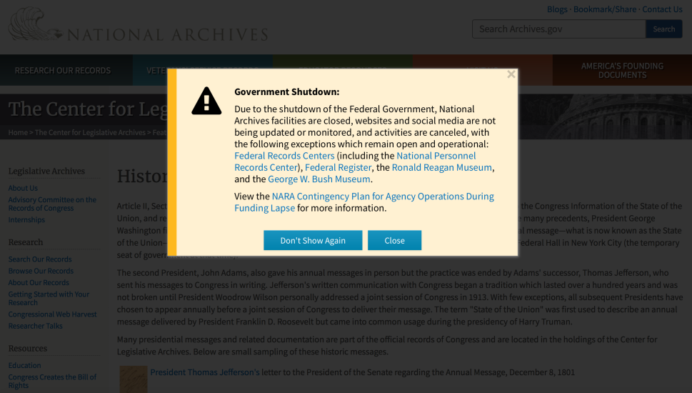 The National Archives are closed because of the government shutdown.