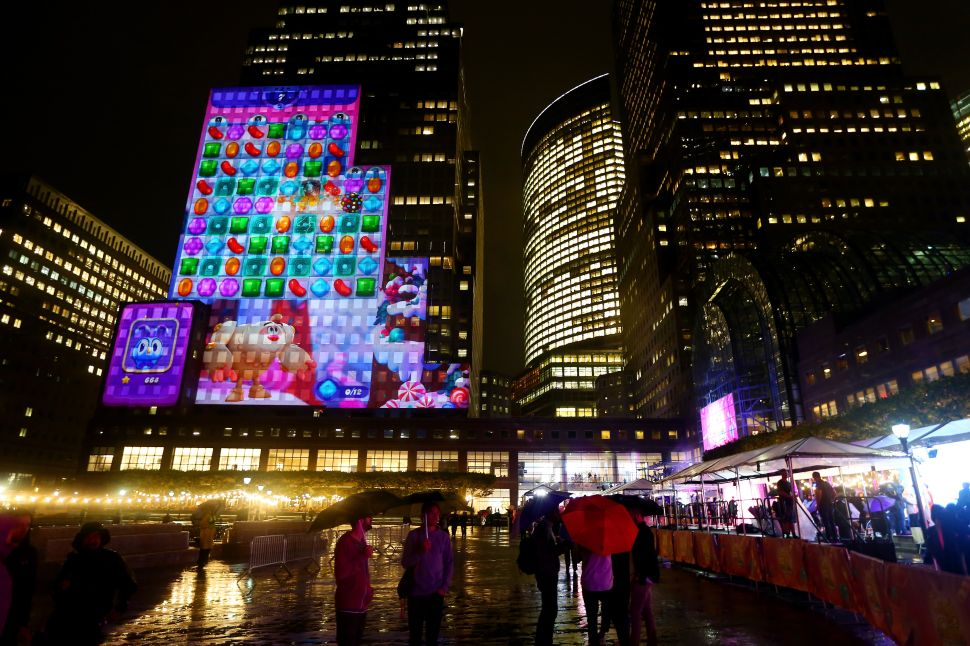 A view the game projected on a building during the Candy Crush Friends Saga Global Launch Event at Brookfield Place on October 11, 2018 in New York City.