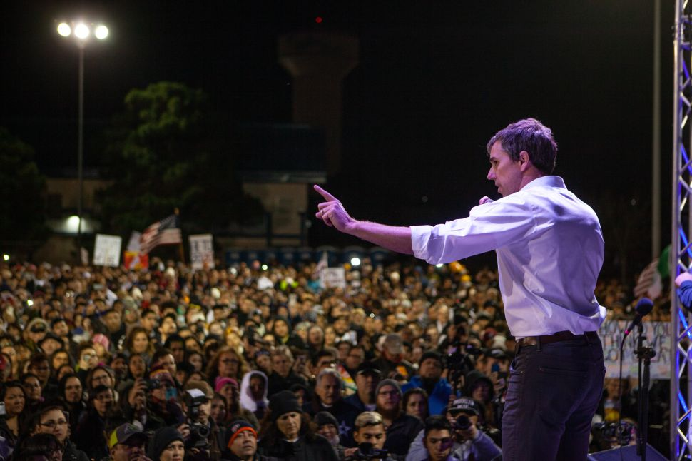 Former candidate for U.S. Senate Beto O'Rourke speaks to thousands of people gathered to protest a U.S.-Mexico border wall being pushed by President Donald Trump on February 11, 2019 in El Paso, Texas.