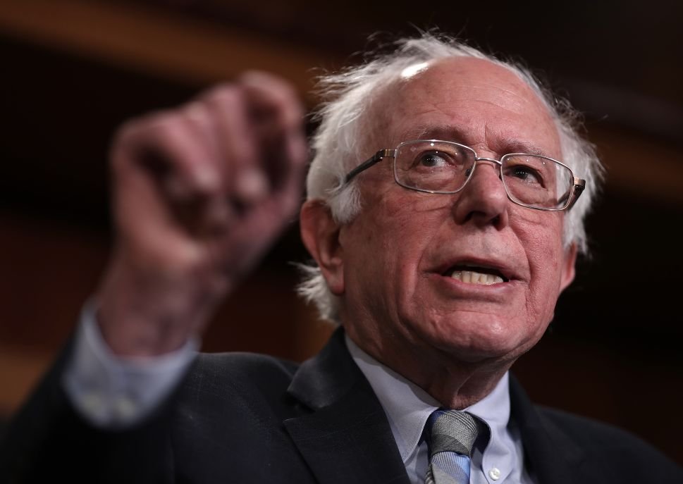 Sen. Bernie Sanders (I-Vt.) speaks during a press conference at the U.S. Capitol.