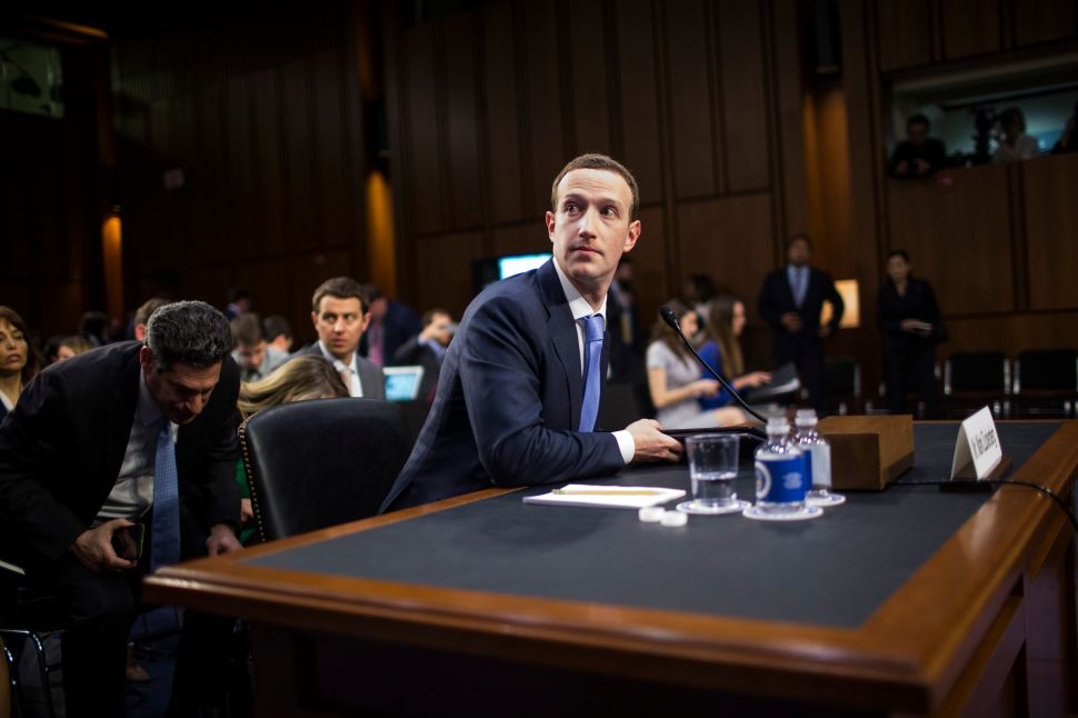 Facebook co-founder, Chairman and CEO Mark Zuckerberg testifies before a combined Senate Judiciary and Commerce committee hearing on Capitol Hill April 10, 2018 in Washington, D.C.