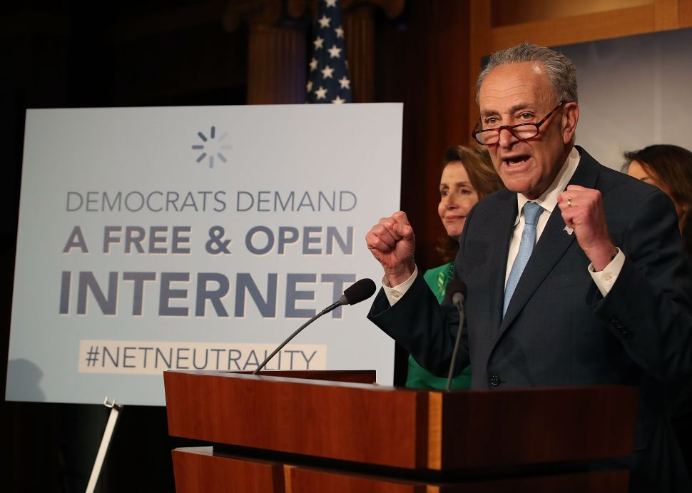 Senate Majority Leader Charles Schumer (D-N.Y.) speaks at a press conference at the Capitol Building.