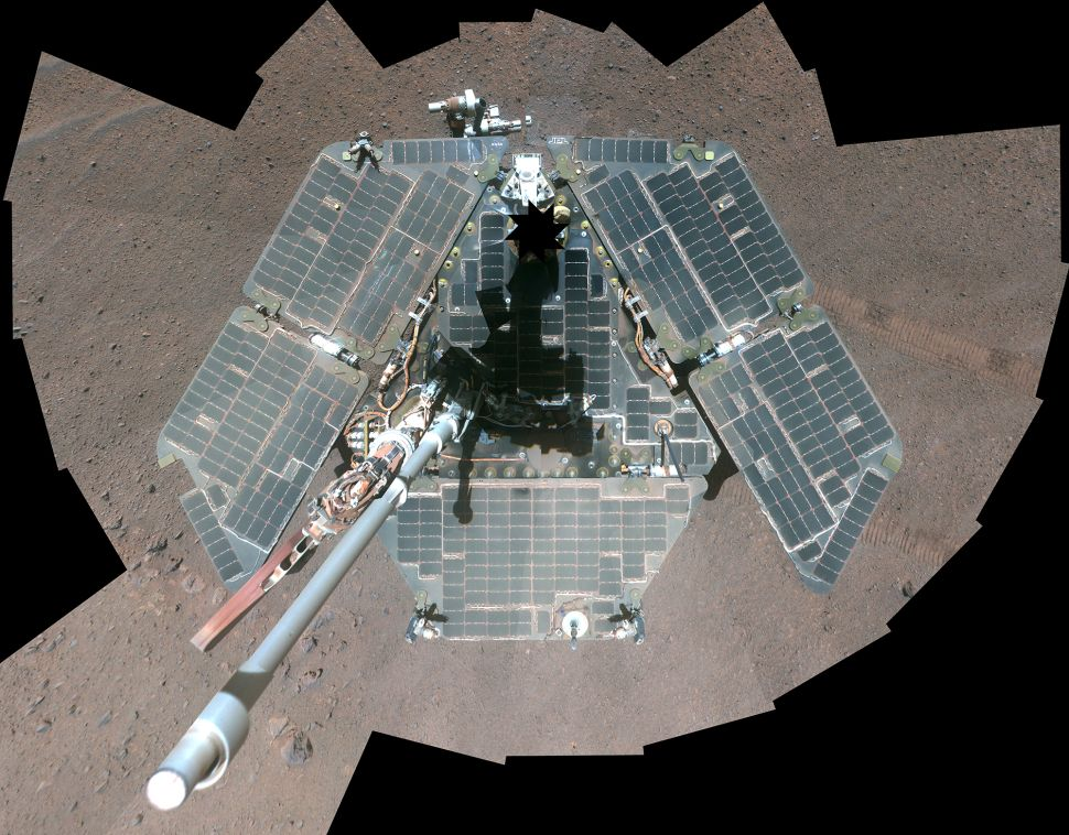 This self-portrait of NASA's Mars Exploration Rover Opportunity shows effects of wind events that had cleaned much of the accumulated dust off the rover's solar panels.
