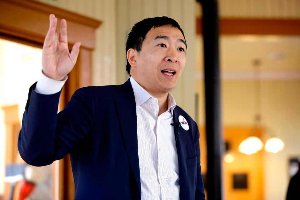 Entrepreneur and 2020 presidential candidate Andrew Yang speaks during a campaign stop at the train depot on February 1, 2019 in Jefferson, Iowa.