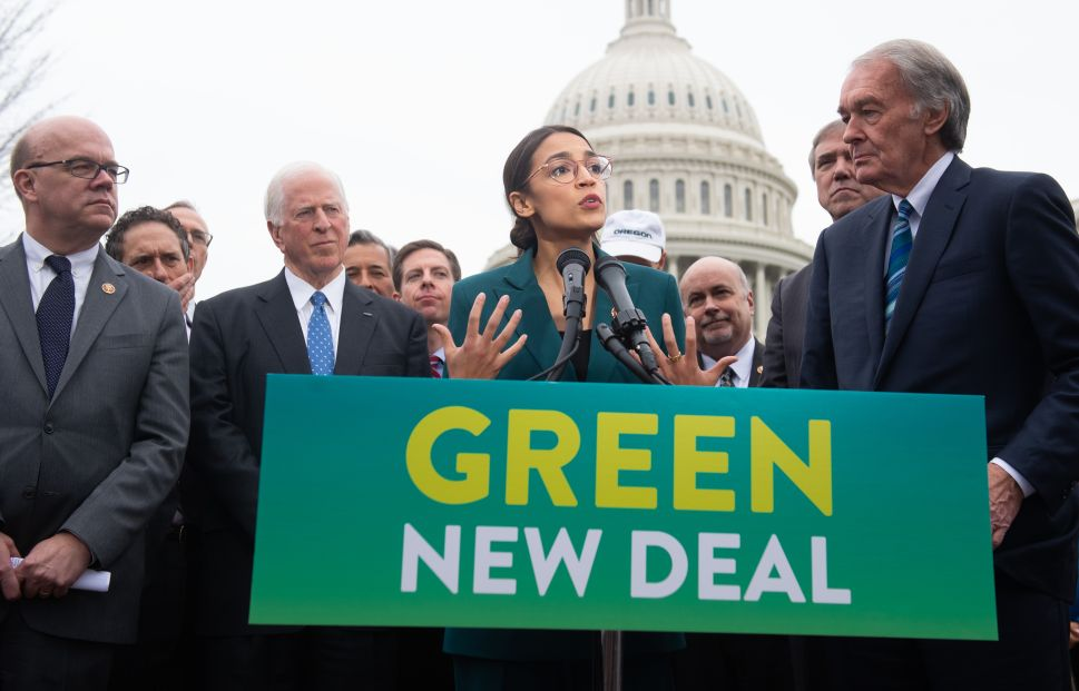 U.S. Representative Alexandria Ocasio-Cortez speak during a press conference to announce Green New Deal legislation to promote clean energy programs outside the U.S. Capitol in Washington, D.C., February 7, 2019.
