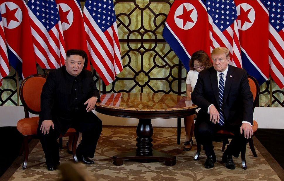 U.S. President Donald Trump (R) and North Korean leader Kim Jong-un (L) meet during their second summit on February 28, 2019 in Hanoi, Vietnam.
