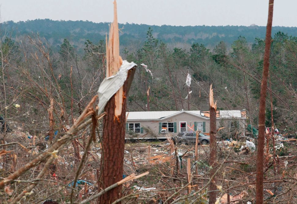 Damage is seen from a tornado which killed at least 23 people in Beauregard, Alabama on March 4, 2019.