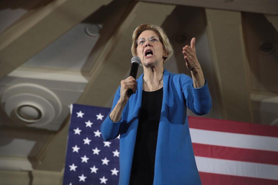 Sen. Elizabeth Warren (D-Mass.) speaks at a campaign rally.
