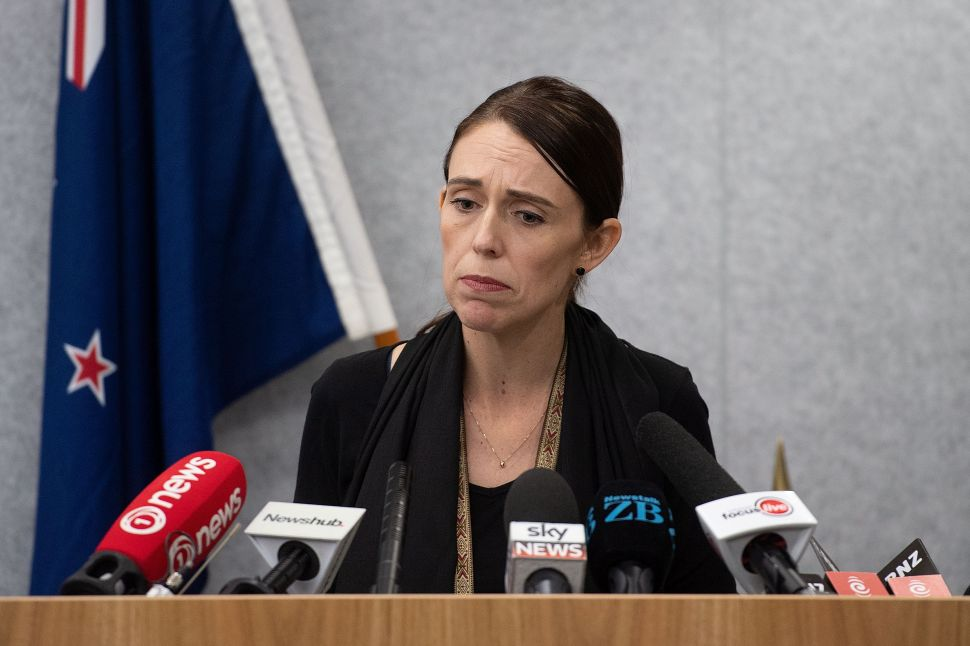 New Zealand Prime Minister Jacinda Ardern at a press conference on March 16, 2019.