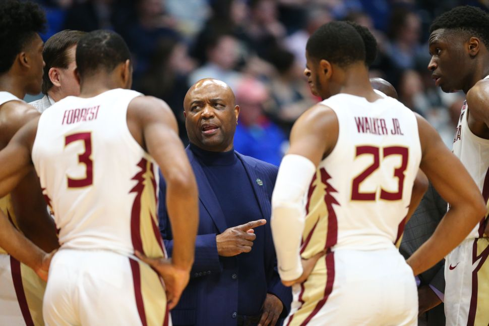 Head coach Leonard Hamilton of the Florida State Seminoles speaks to his team during the first round game of the 2019 NCAA Men's Basketball Tournament against the Vermont Catamounts on March 21, 2019.