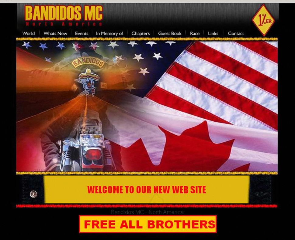 """This April 2006 computer screen shot shows the website for the Bandidos Motorcycle Club after an """"internal cleansing"""" of the world's second most powerful biker gang claimed the lives of eight men."""