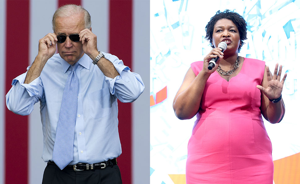 Former Vice President Joe Biden (L) and Georgia gubernatorial nominee Stacey Abrams (R).