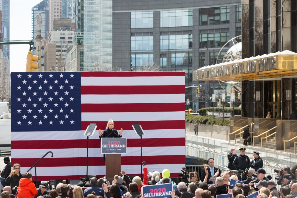 Sen. Kirsten Gillibrand announces her presidential candidacy in New York outside of the Trump International Hotel on March 24, 2019.